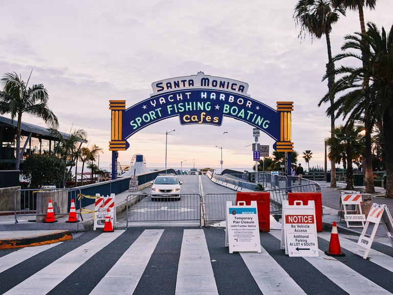 The entrance to the Santa Monica Pier is blocked