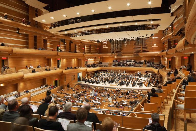 La Maison Symphonique de Montreal, Montreal, Canada. Architect: Diamond + Schmitt , 2012. Concert auditorium.