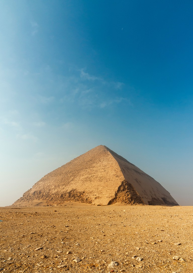 Bent Pyramid built under Old Kingdom Pharaoh Sneferu (2600 BC), Dahshur, Egypt
