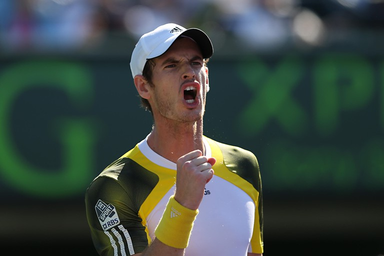 Miami, FL - Andy Murray of Great Britain reacts during day 11 of Sony Open 2013.