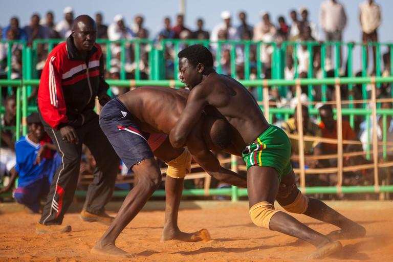 Nuba Wrestlers, Khartoum, Sudan. Image shot 2013. Exact date unknown.