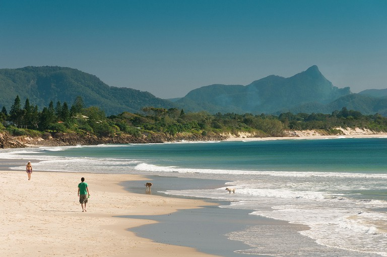 Belongil Beach with Mount Warning in the background in Byron Bay