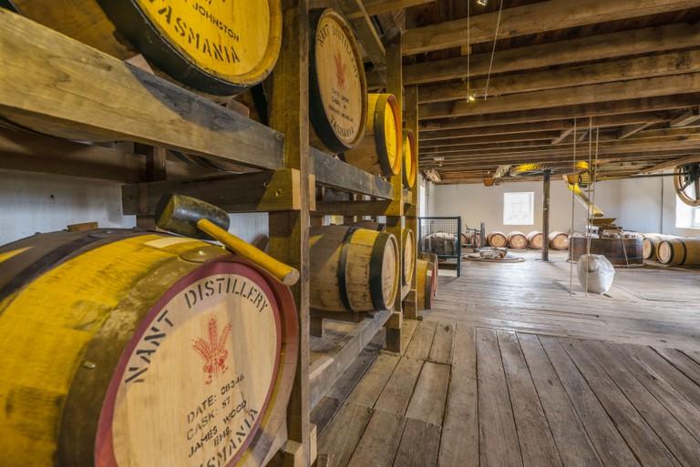 The keg room in the historic Nant whisky distillery near Bothwell Tasmania