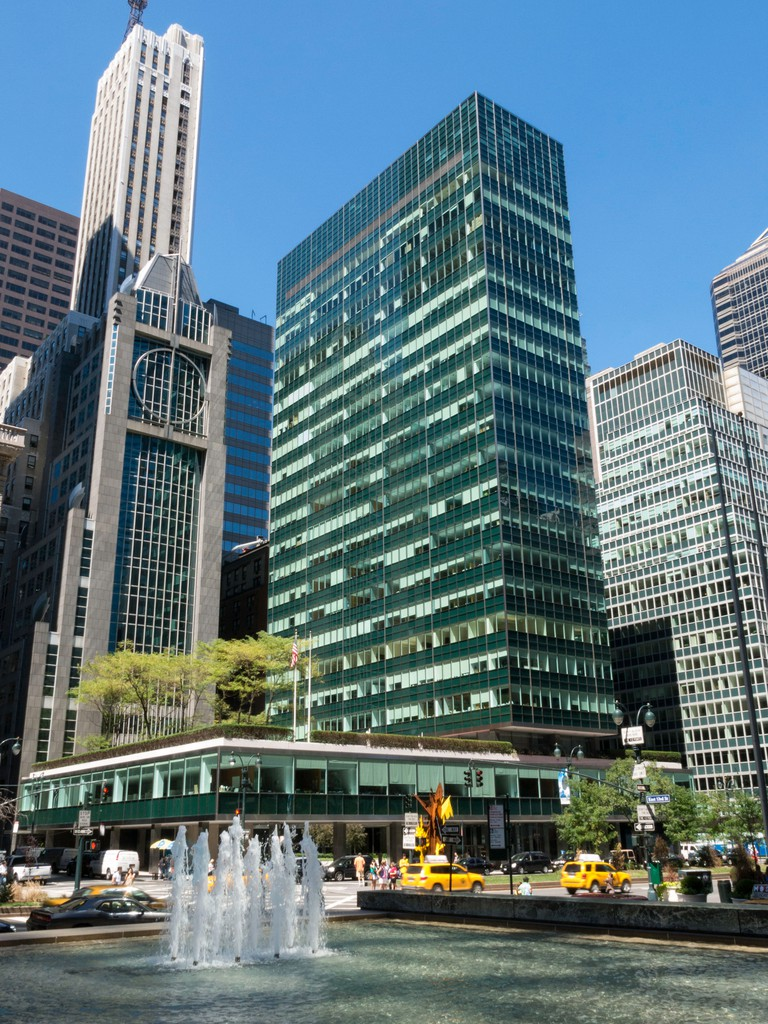 Seagram Building Fountain and Pool with Lever House in Background, NYC. Image shot 2013. Exact date unknown.