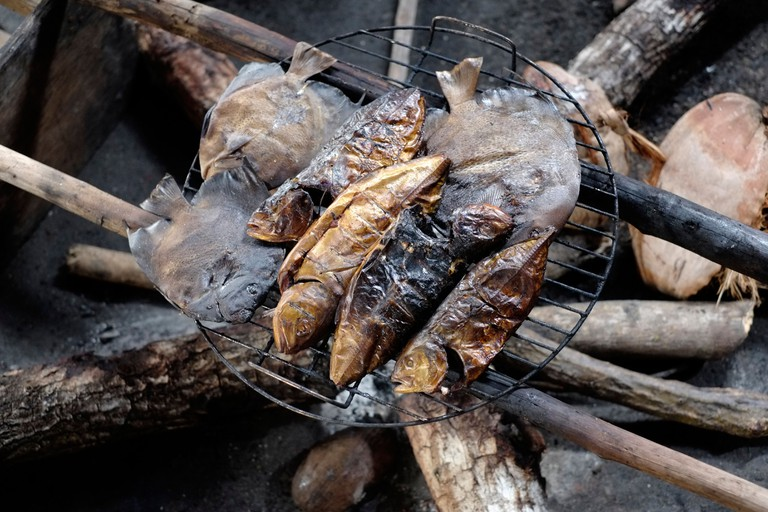 """Tropical grilled fishes in a small island administered by Guna natives known as Kuna in the """"Comarca"""" (region) of the Guna Yala located in the archipelago of San Blas Blas islands in the Northeast of Panama facing the Caribbean Sea."""