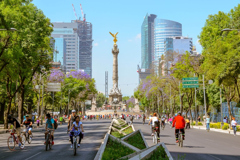 Sunday´s bikers in Paseo de la Reforma, Mexico City, Mexico