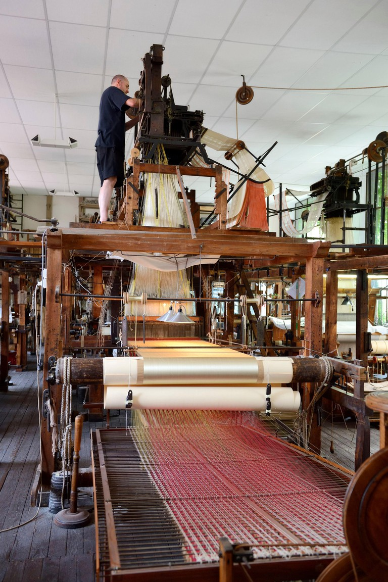 France Rhone Lyon La Croix Rousse District Silk manufacturer Prelle silk loom developed by Joseph Marie Jacquard called