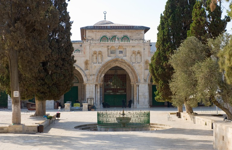 The entrance of the Al-aqsa mosque on the temple-square in Jerusalem