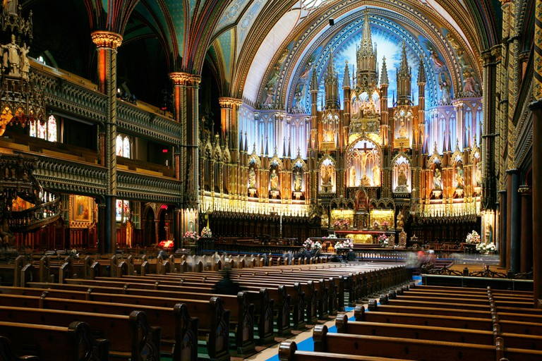 Basilica of Notre Dame de Montreal, Vieux Montreal, Montreal, Quebec Province, Canada