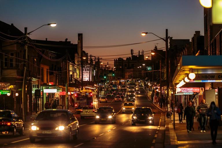 Enmore Road at night, Newtown