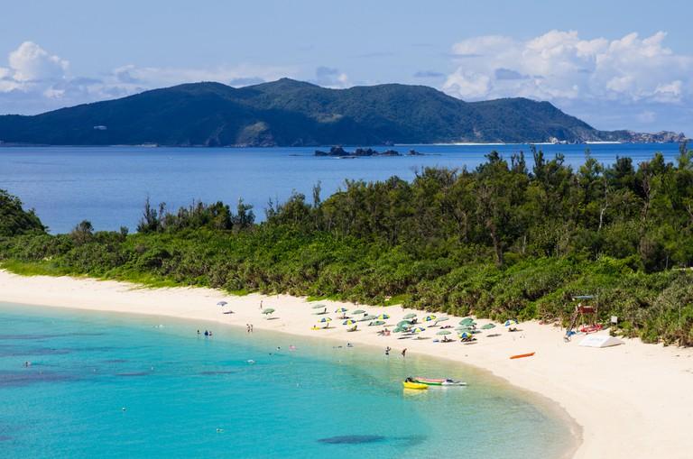 Aharen Beach on Tokashiki Island with Zamami Island behind, Okinawa, Japan.