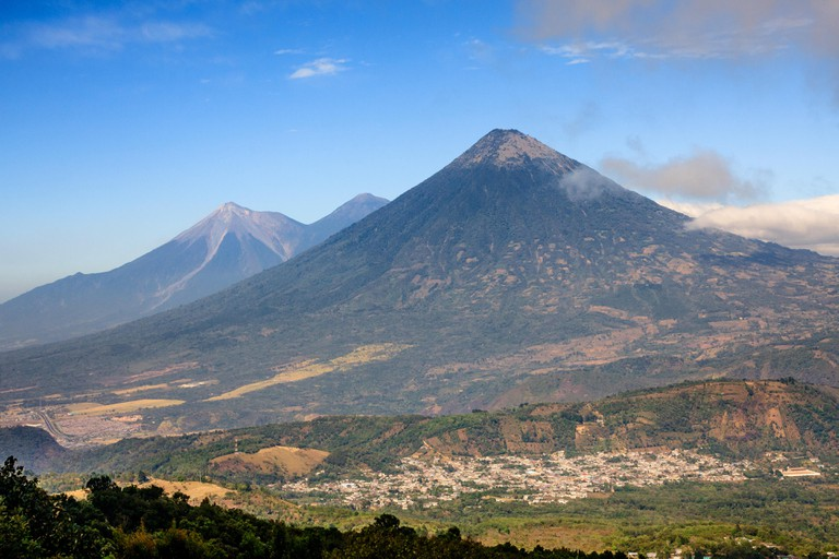 View of Agua volcano from the Pacaya volcano, Guatemala. Image shot 01/2015. Exact date unknown.