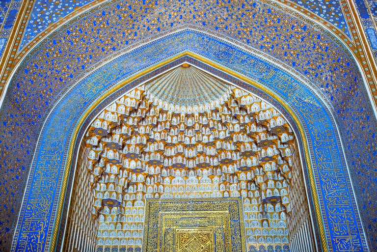 Blue tiles inside of the Bibi Khanim mosque