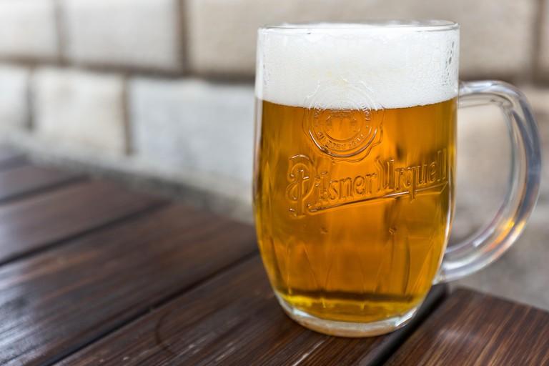 beer, drink, beverage, pub, outside, bricks, wooden table, restaurant, alcohol, Pilsner Urquell