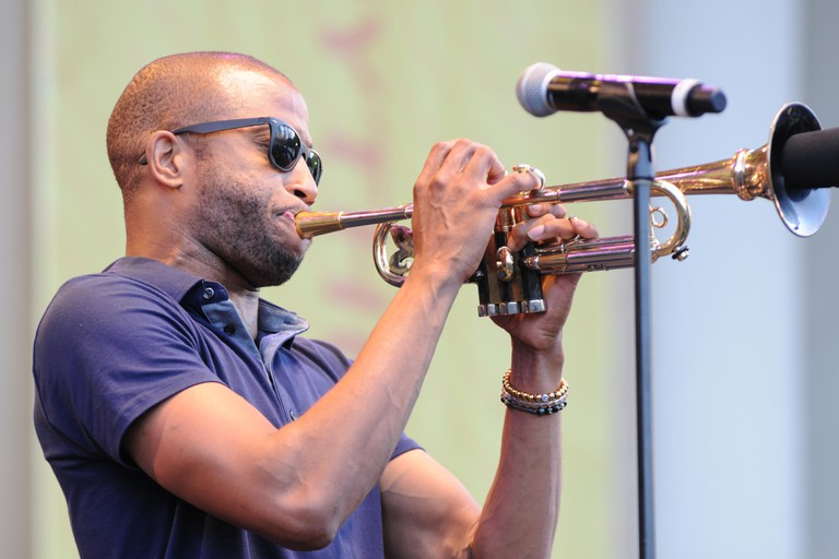 Erykah Badu and Trombone Shorty perform at Taste of Chicago 2015 at the Petrillo Music Shell in Grant Park Chicago on July 9, 2015  Featuring: Troy Andrews (Trombone Shorty) Where: Chicago, Illinois, United States When: 10 Jul 2015