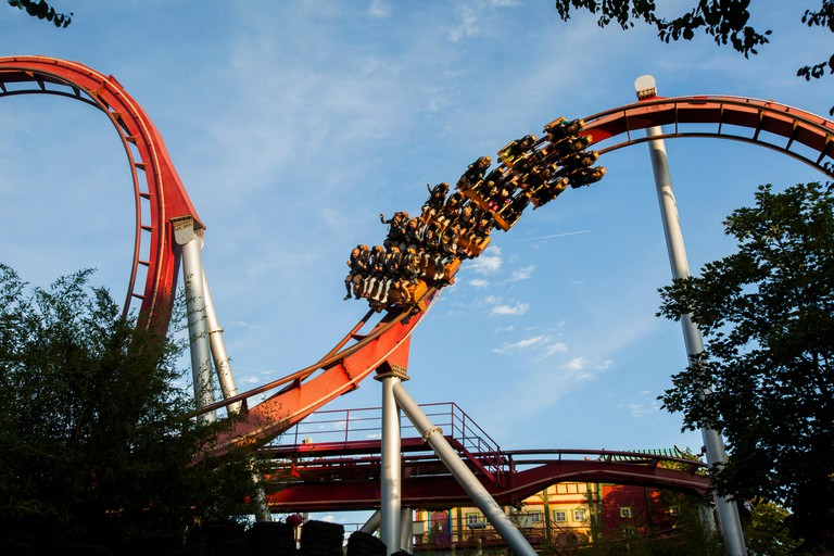 The Demon Rollercoaster ride, Tivoli Gardens, Copenhagen