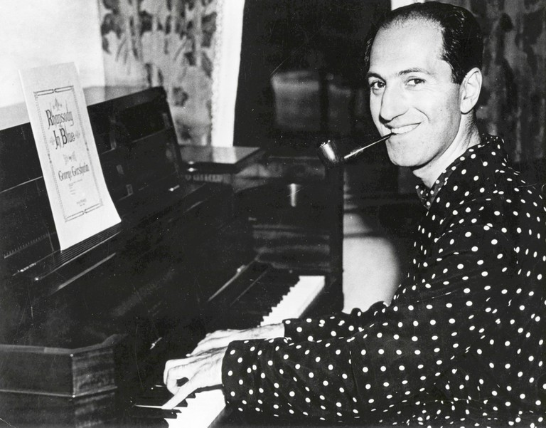 The American composer George Gershwin at the piano