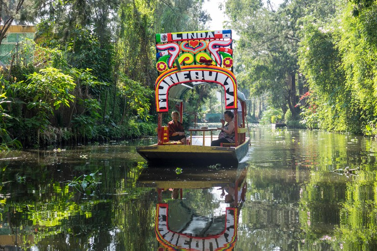 Mexico. Mexico City. Xochimilco. Boat on canal