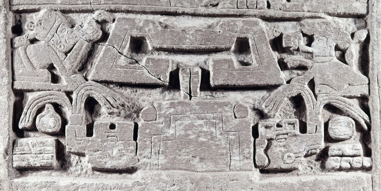 MEXICO: MIXTEC STELE. /nDetail of a carved stone stele from the roof of a Mixtec tomb at Zaachila, Oaxaca, Mexico, c1000 A.D.