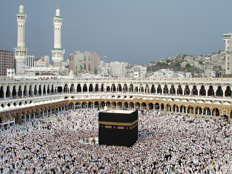Thousands of Muslim hajj pilgrims circle the Holy Kaaba in the Al-Masjid al Haram in Mecca, al-Hejaz, Saudi Arabia. The kabah is most sacred Muslim site in the world.