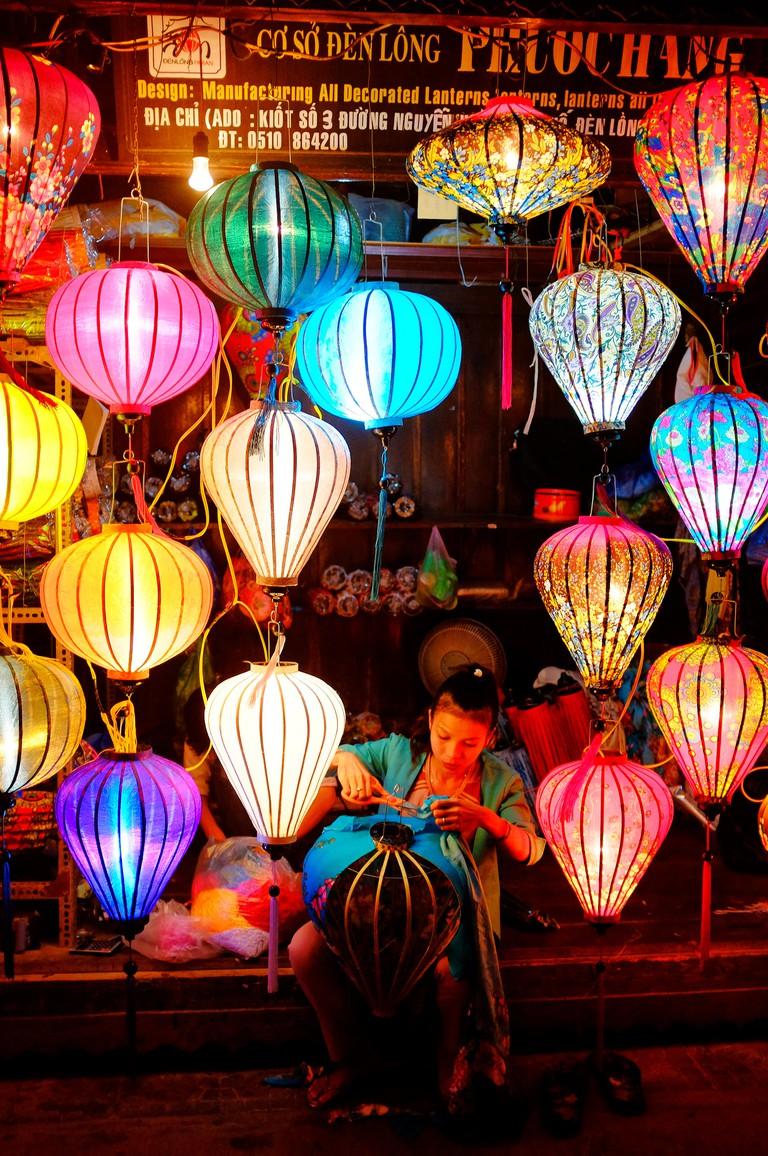 Lantern maker in Hoi An Night Market, Vietnam