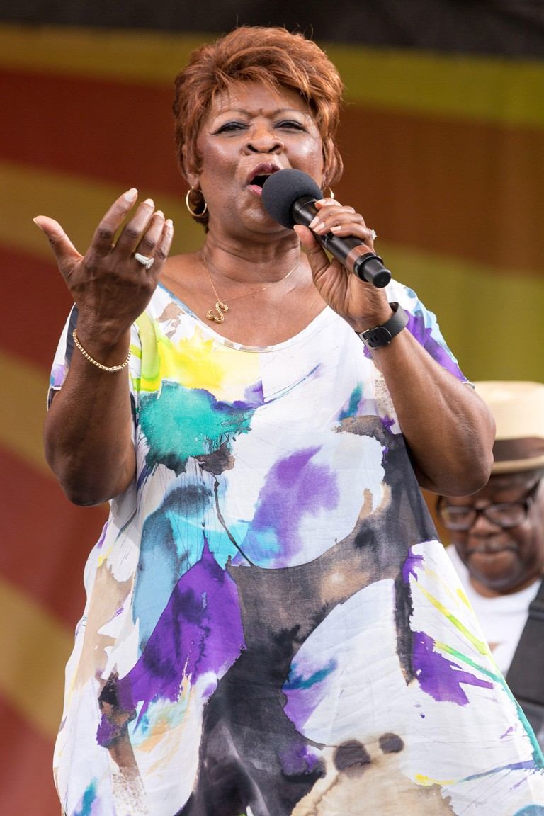 New Orleans, Louisiana, USA. 29th Apr, 2016. Singer IRMA THOMAS performs live during the New Orleans Jazz & Heritage Festival at Fair Grounds Race Course in New Orleans, Louisiana Credit: Daniel DeSlover/ZUMA Wire/Alamy Live News
