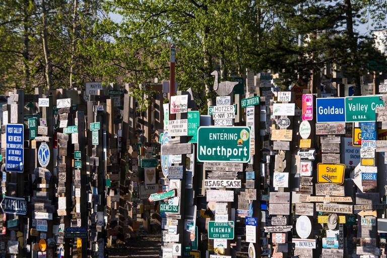 signpost forest,Watson lake,Yukon,Canada,Alaska,USA,signpost