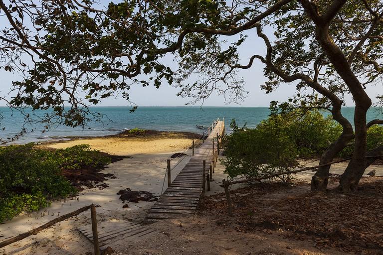 Beautiful scene at the beach in the Orango Island, Guinea Bissau;