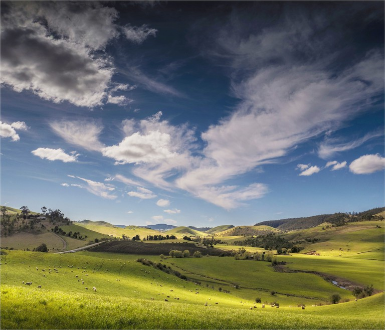 Countryside at Campania, Derwent Valley, Tasmania, Australia.