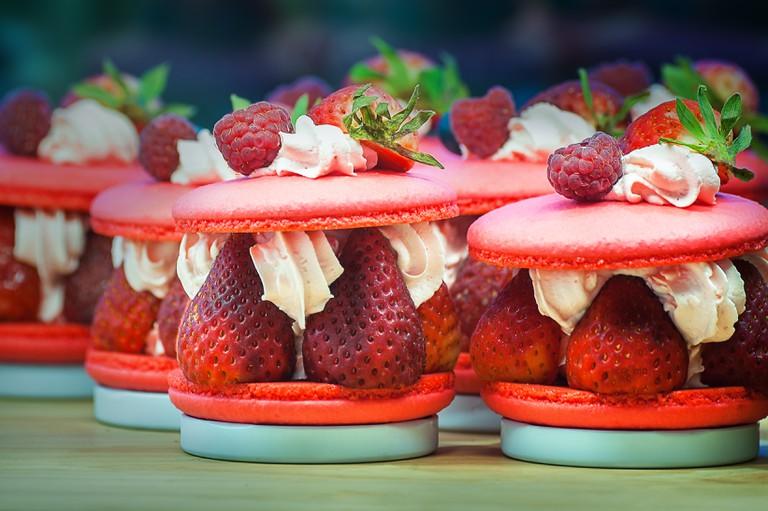 Strawberry and raspberry macarons