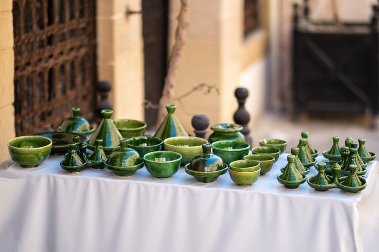 Traditional Moroccan market with souvenirs. Handmade ceramic