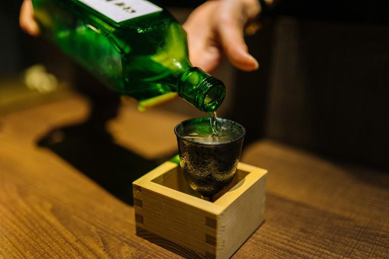 Nihonshu Overflow Sake in a Masu