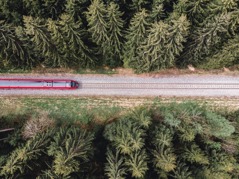 Aerial View Of Train Amidst Trees germany