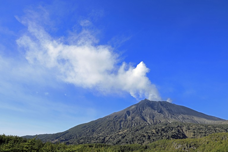 Sakurajima in Kagoshima, Japan, view from Arimura lava observatory