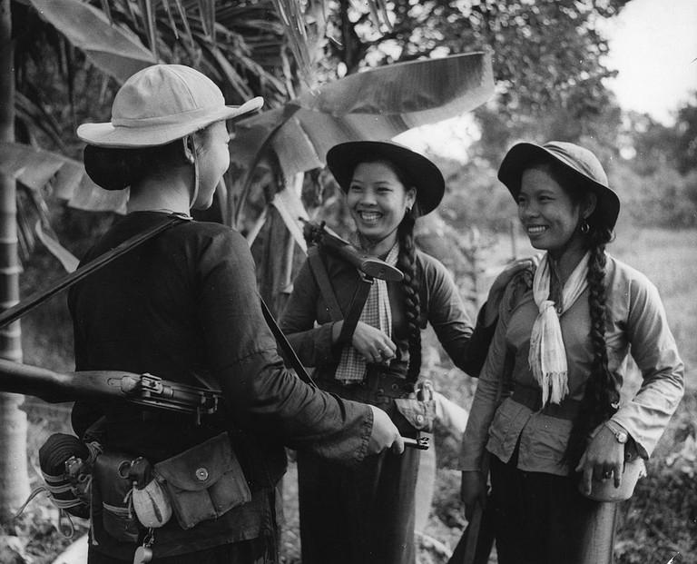 South Vietnamese women communist guerrillas. Vietnam War. 1966