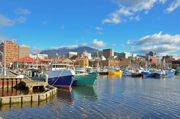 Fishing Boats Moored to the quay in Hobart Harbour