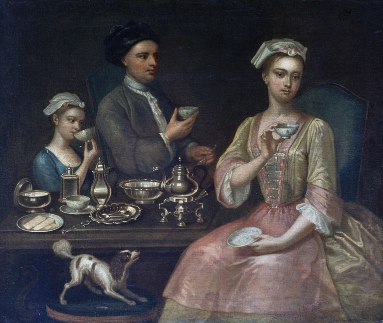 A Family of three at tea, 1727, by Richard Collins (active 1726-1732)