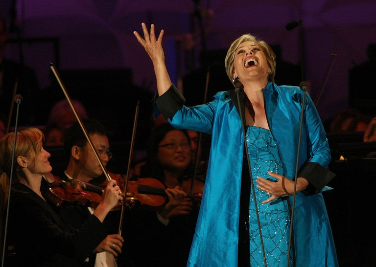 Dame Kiri Te Kanawa performs at opening night at the Hollywood Bowl which features Hall of Fame ind