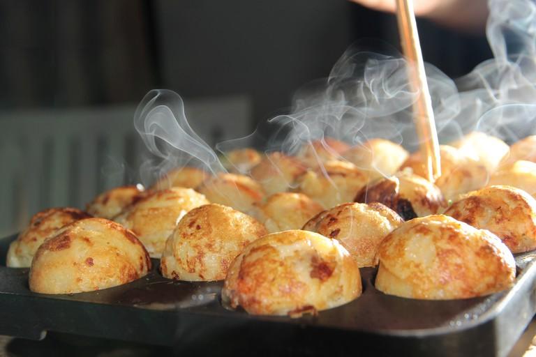 Takoyaki cooking in Osaka