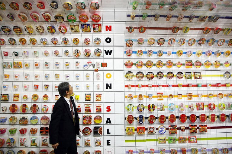 Instant cup noodles are on display at the Instant Ramen Museum in Osaka, Japan.