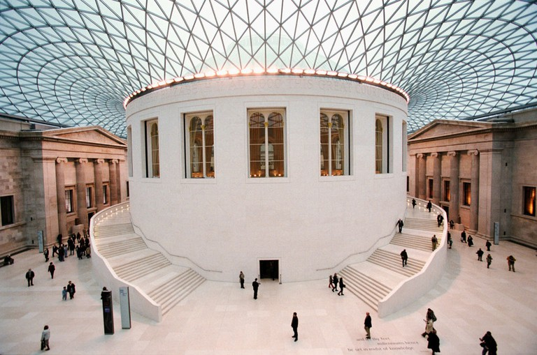 British Museum, Great Court, London. Hidden from public view since 1857. the Great Court allows visitors to move freely around the Main floor for the first time in 150 years. Two monumental staircases encircle the drum of the Reading Room. Architect, Fos