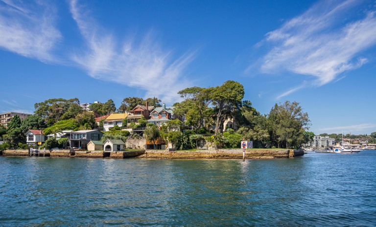 Inner West suburb of Balmain East with waterfront residences at Simmons Point