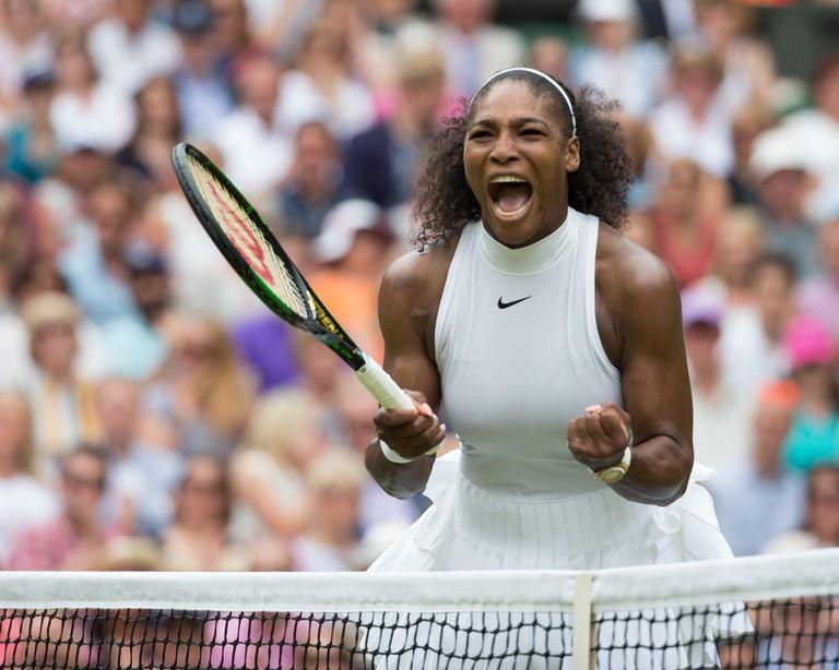 Serena Williams (USA) celebrating at the Wimbledon 2016 final.