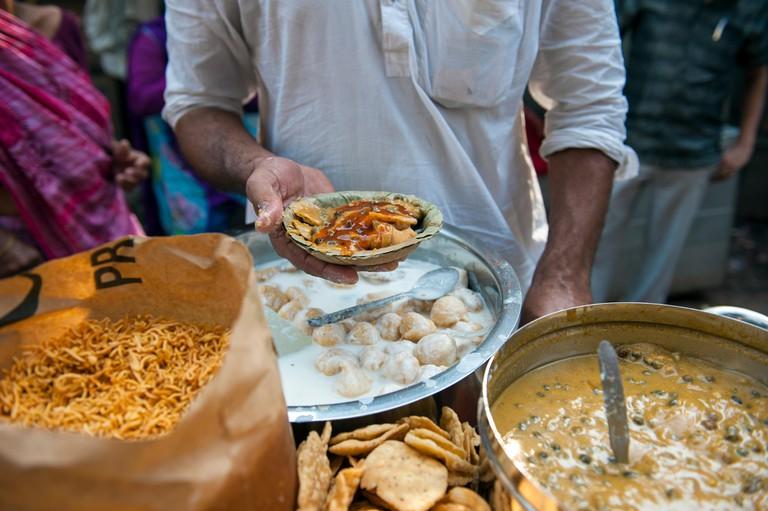 Making papdi chaat