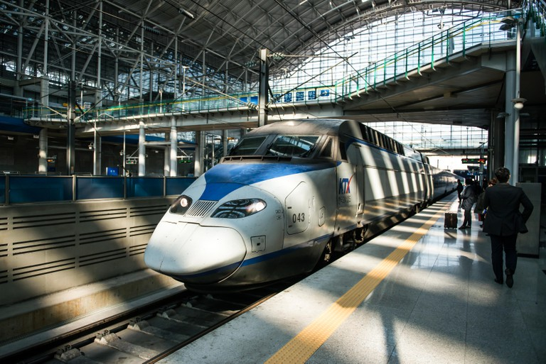 High-speed bullet trains at the Seoul station in South Korea.