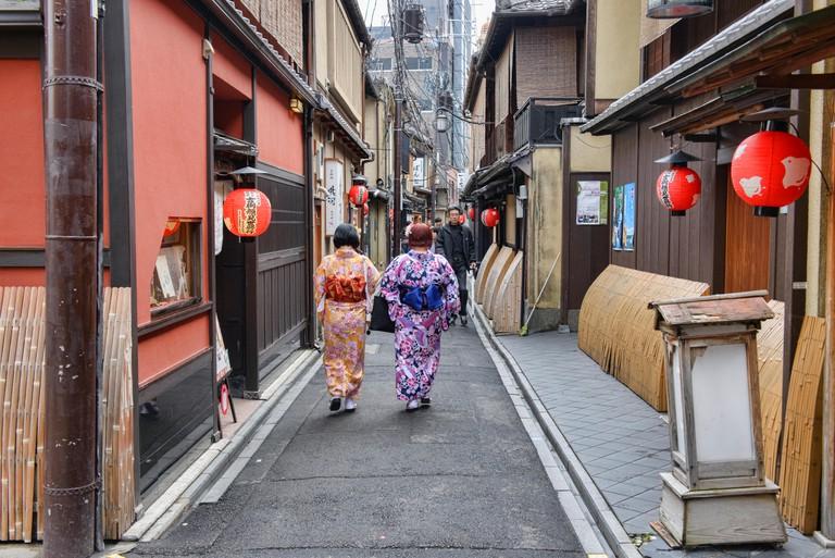 The atmospheric alleyways of Gion, Kyoto, Japan