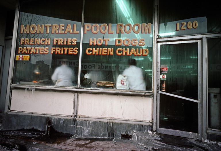 Montreal cafe and Pool room in winter, Quebec Province, Canada