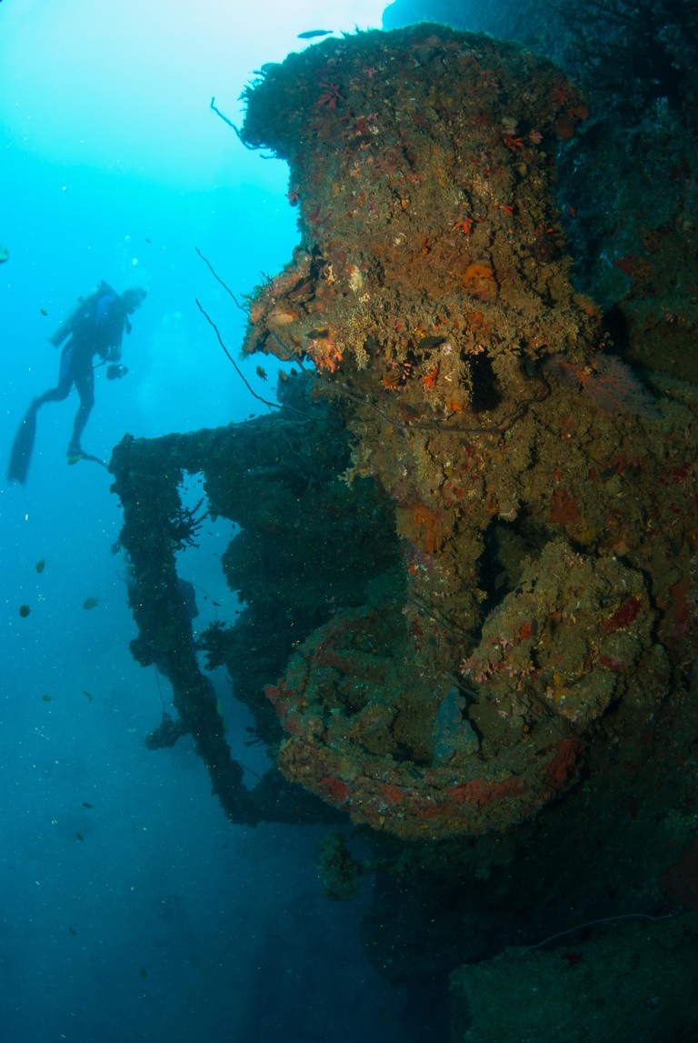 The stunning shots show the vast 13,000 ton wreck of the SS President Coolidge at the bottom of the pacific