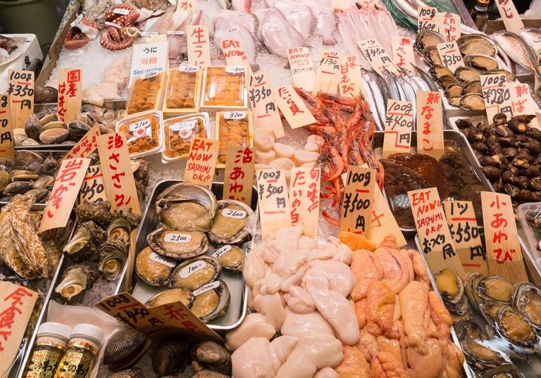 Fish for sale - Kyoto Nishiki Market Japan