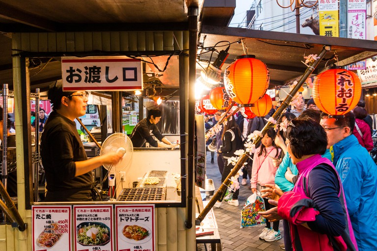 Street food in Dotonbori, Osaka.
